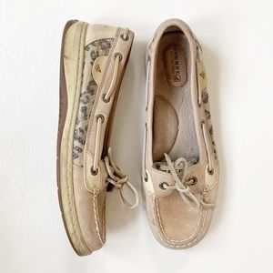 Sperry Angelfish Boat Shoes Cheetah Print Size 7.5